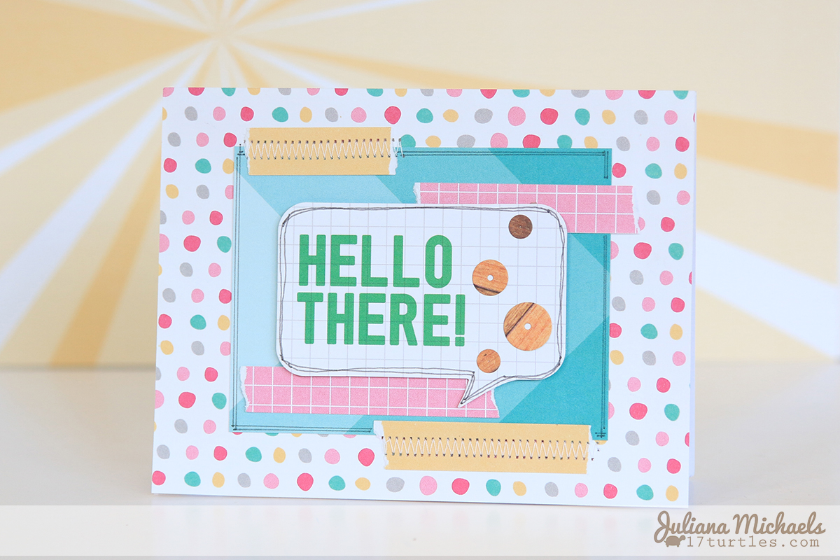 Hello There Wood Grain Sequins Card by Juliana Michaels featuring Elle's Studio and MFT Stamps Die-namics