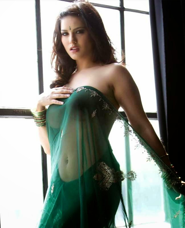 hot sunny leone in green saree hot wallpapers