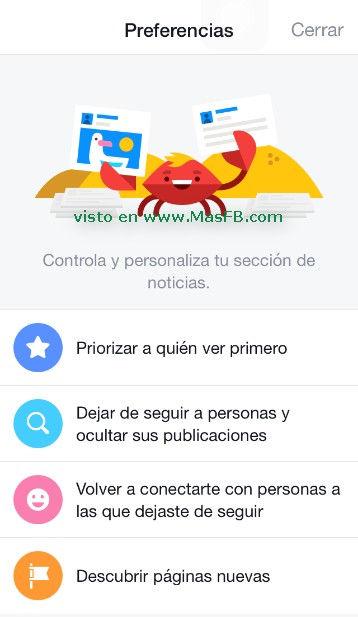 Opciones de preferencias de noticias en Facebook - MasFB