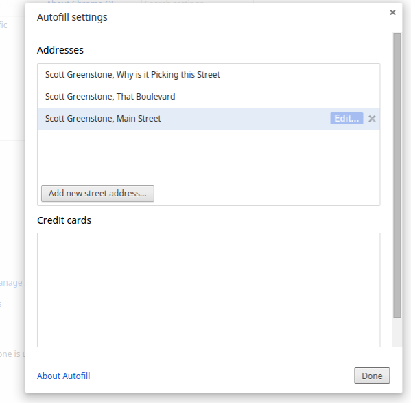 how to delete specific autofill chrome