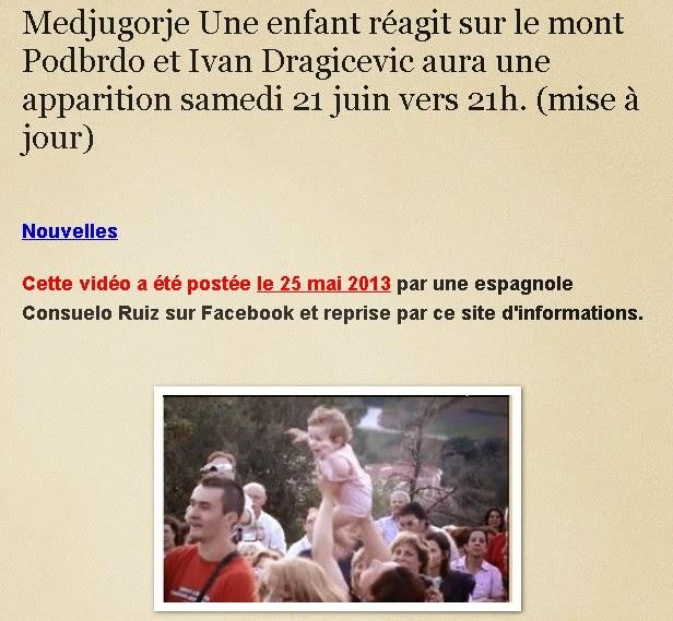 Medjugorje  2013 Une enfant réagit sur le mont Podbrdo et l'apparition d' Ivan Dragicevic