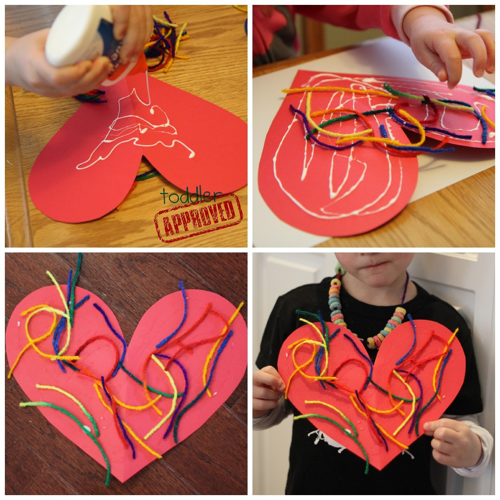 Simple valentine crafts for toddlers - Simple Yarn Valentine