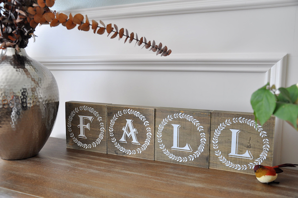 Fall decor and block letters from Hobby Lobby - too cute!