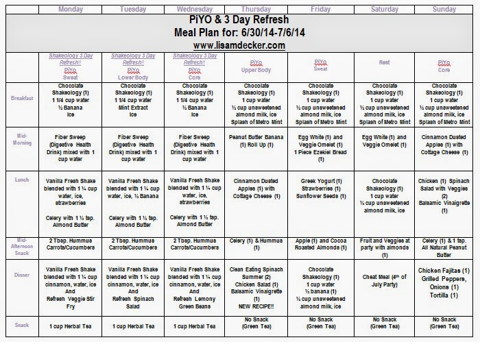 PIYO Meal Plan, PIYO