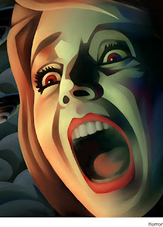 A rendition of a woman's face, close-up, as she screams in horror, presumably over EDM 310.