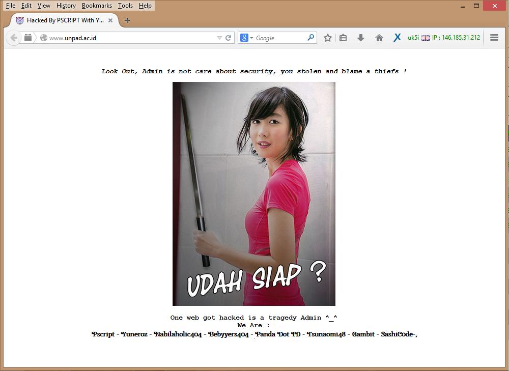 Website Resmi Unpad di Retas Dini Hari Tadi