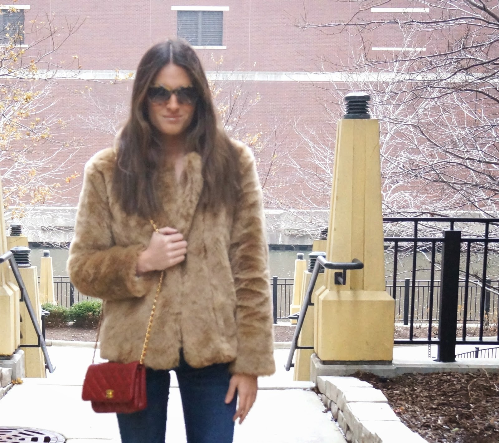 blank denim + faux fur + Chanel Bag