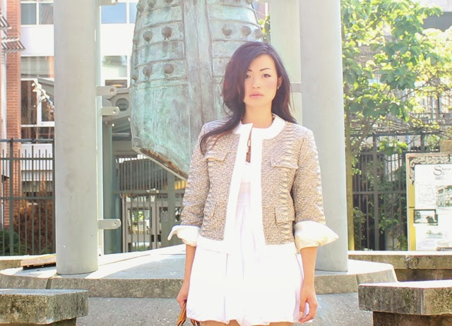 white dress with python jacket, summer style