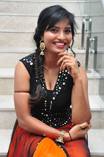 Shree new TGelugu actress Spicy Pics in Deep Neck Black Choli and Orange Ghagra at Hora Hori Audio launch