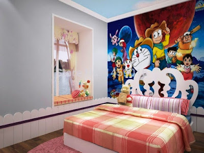 Contoh Wallpaper Dinding Kamar Tidur Anak Doraemon