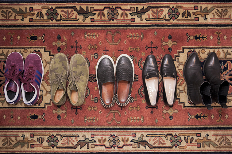 Turkish rug runner, Adidas Gazelle sneakers in burgundy, J.Crew camo Macalister shoes, Sandro Anaconda slip-on sneakers, Chanel leather loafers, Alexander Wang Anouck boots