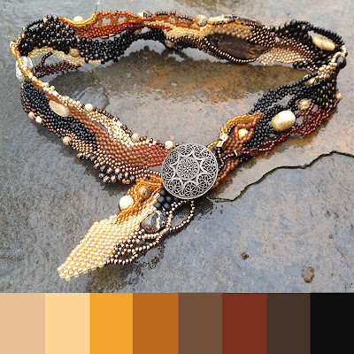 Leopard Jasper, freeform peyote choker with color palette