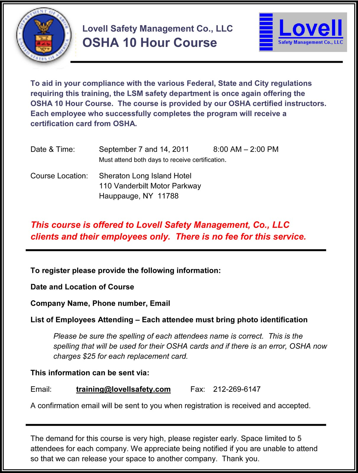 Safety Pays Lovell Is Offering Our Clients Osha 10 Hour Class In