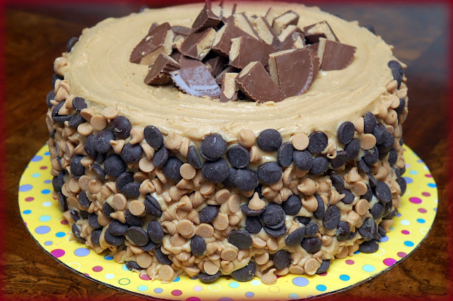 REESE'S OVERLOAD CAKE-2 PEANUT BUTTER BLONDIE LAYERS, 1 CHOCOLATE ...