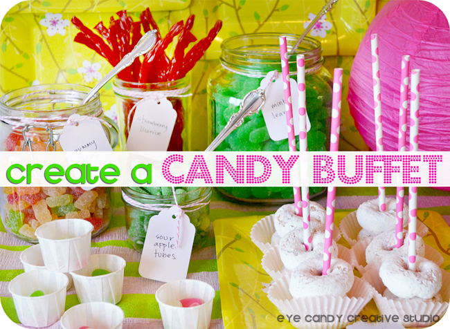 Eye candy creative studio diy how to create an easy candy buffet candy buffet dessert table twizzlers paper lanterns candy bar how to watchthetrailerfo