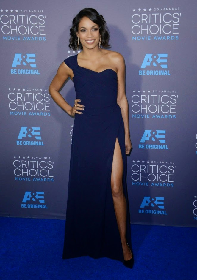 Rosario Dawson flashes skin in her Vivienne Westwood gown at the 2015 Critics' Choice Movie Awards