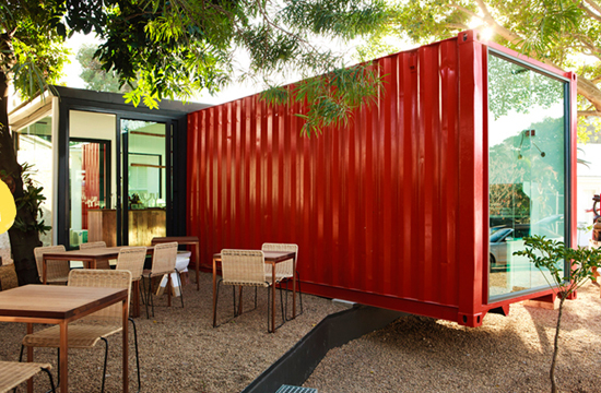 Safari Fusion blog | Ship it [part 1] | The Freedom Cafe in Durban South Africa is constructed using a bright red shipping container