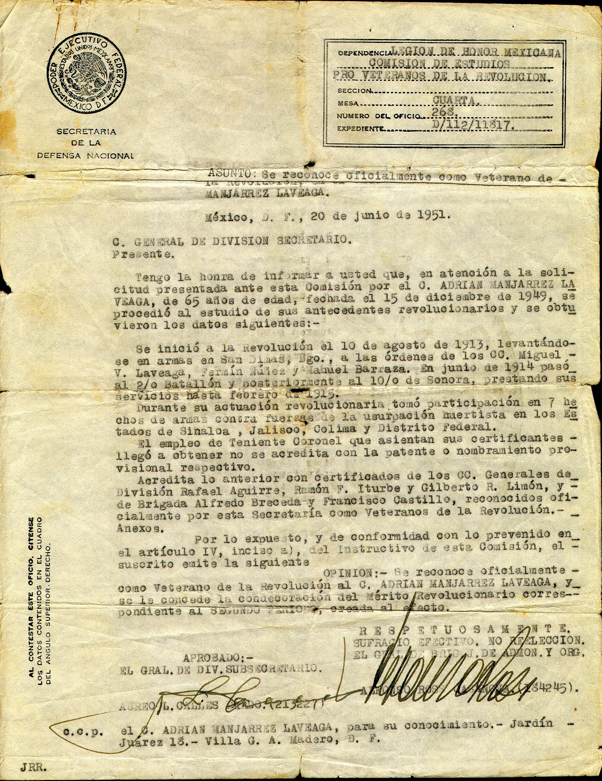 Reconocimiento como veterano de la Revolución Mexicana