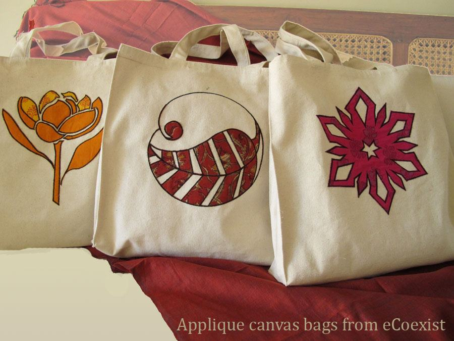 Applique conference bags the usemeagain cloth bags from ecoexist