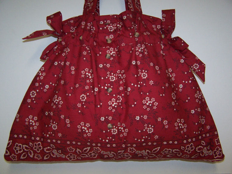 Handmade Recycled Red Bandana Drawstring Tote Handbag Purse