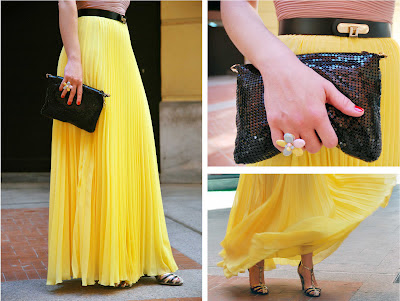 Yellow Pleated Skirt 1