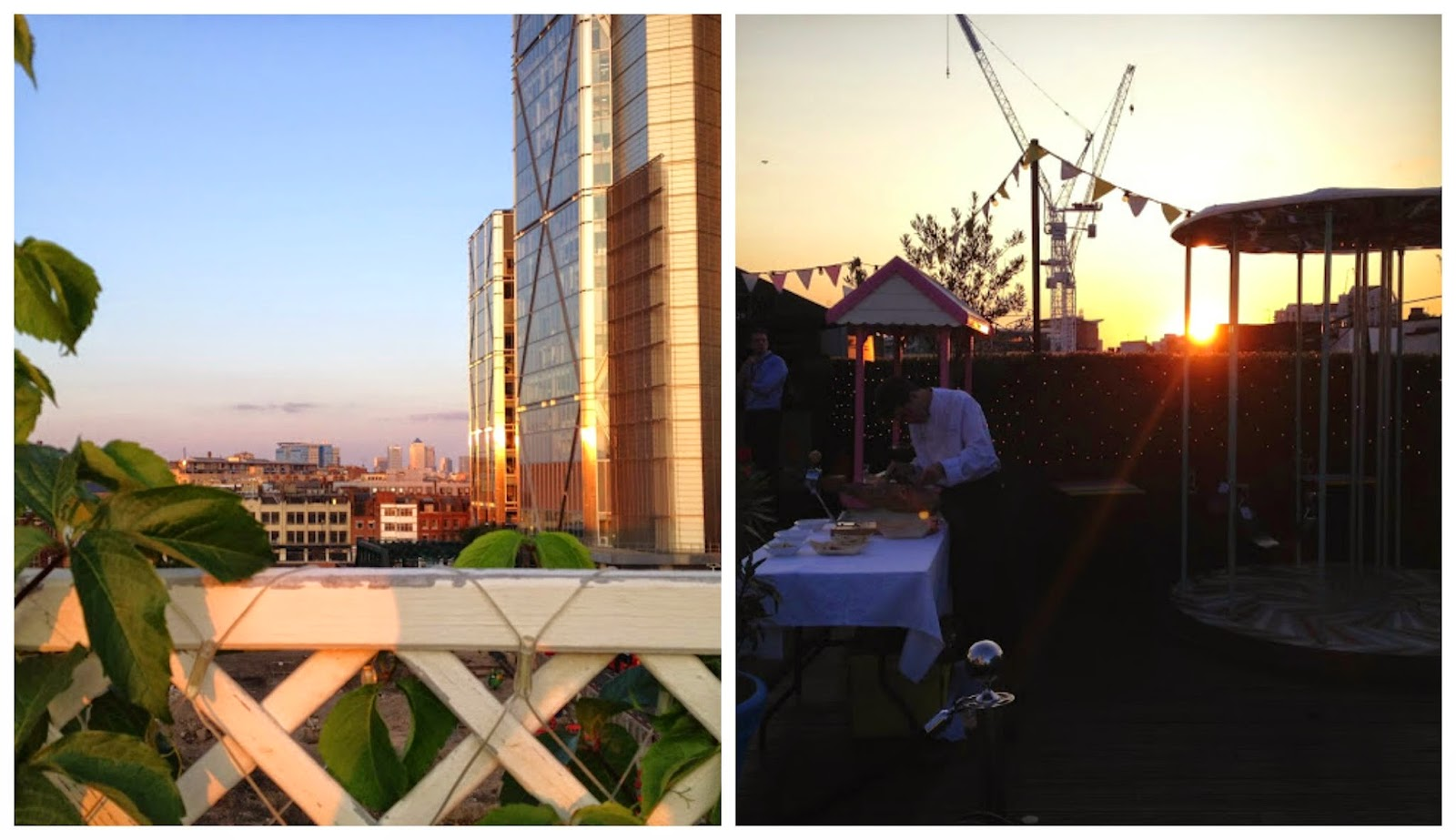 The sunset from the rooftop at the Queen of Hoxton