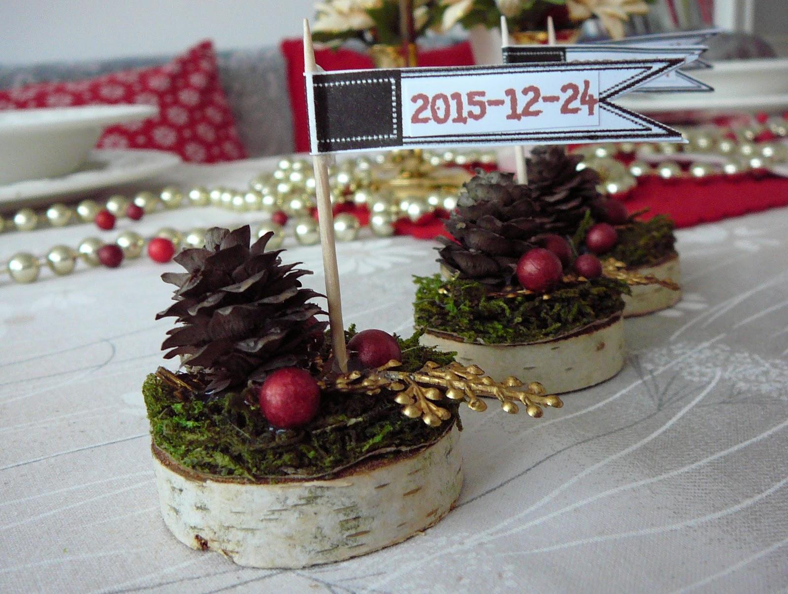 świąteczne winietki na stół wigilijny