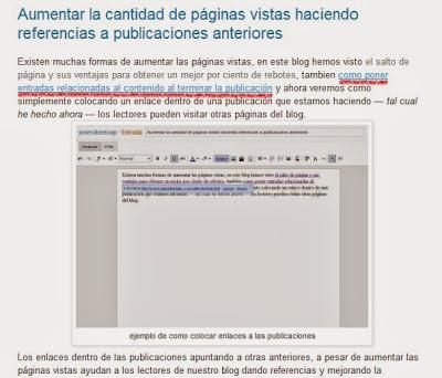 ejemplo de enlaces y la relación de los párrafos para redrección