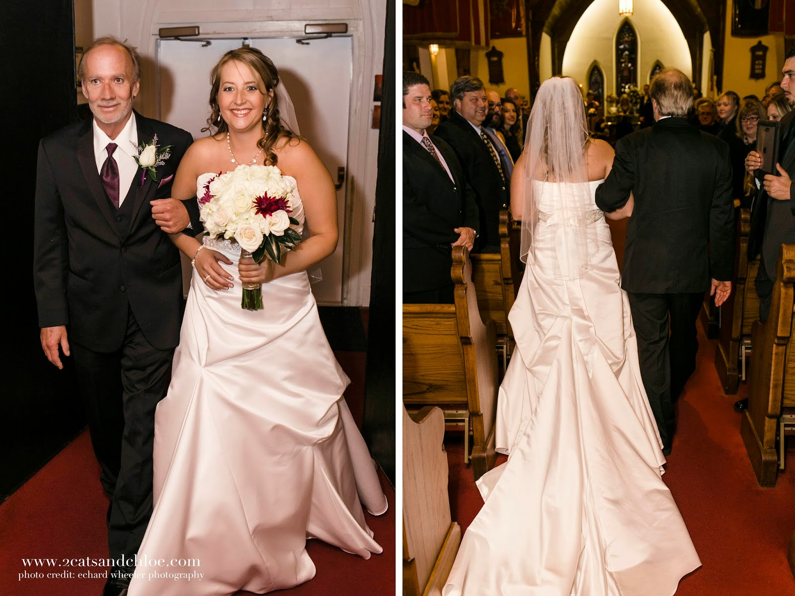 Father walks bride down aisle, augusta jones bobbi wedding gown