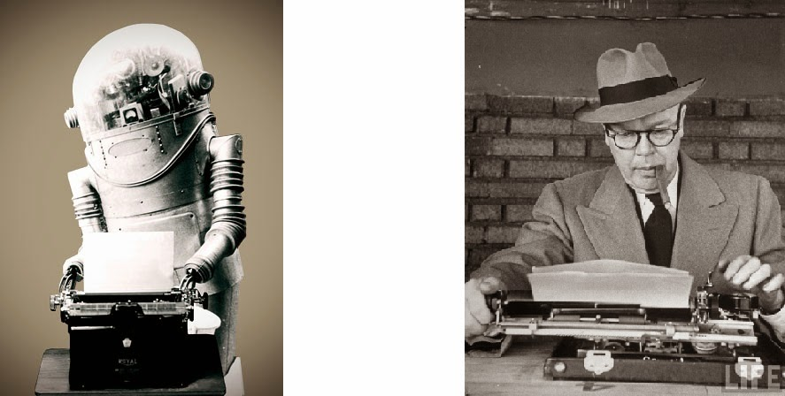 Sepiatone photograph of a Robot Typist Vs. a Human Typist writer transformer automation artificial intelligence AI cognitive computing technology science controversy