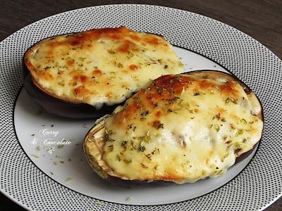 Berenjenas rellenas de champiñones y queso