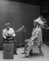 Frances Densmore recording Mountain Chief image