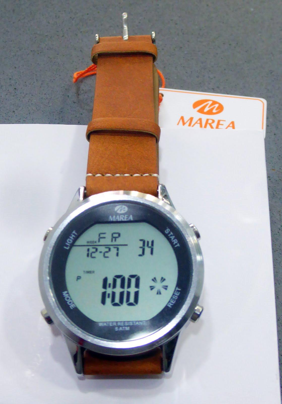 Reloj Marea digital caja de acero y correa de cuero marrón