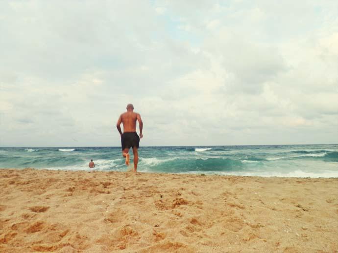 Running to the sea. beach