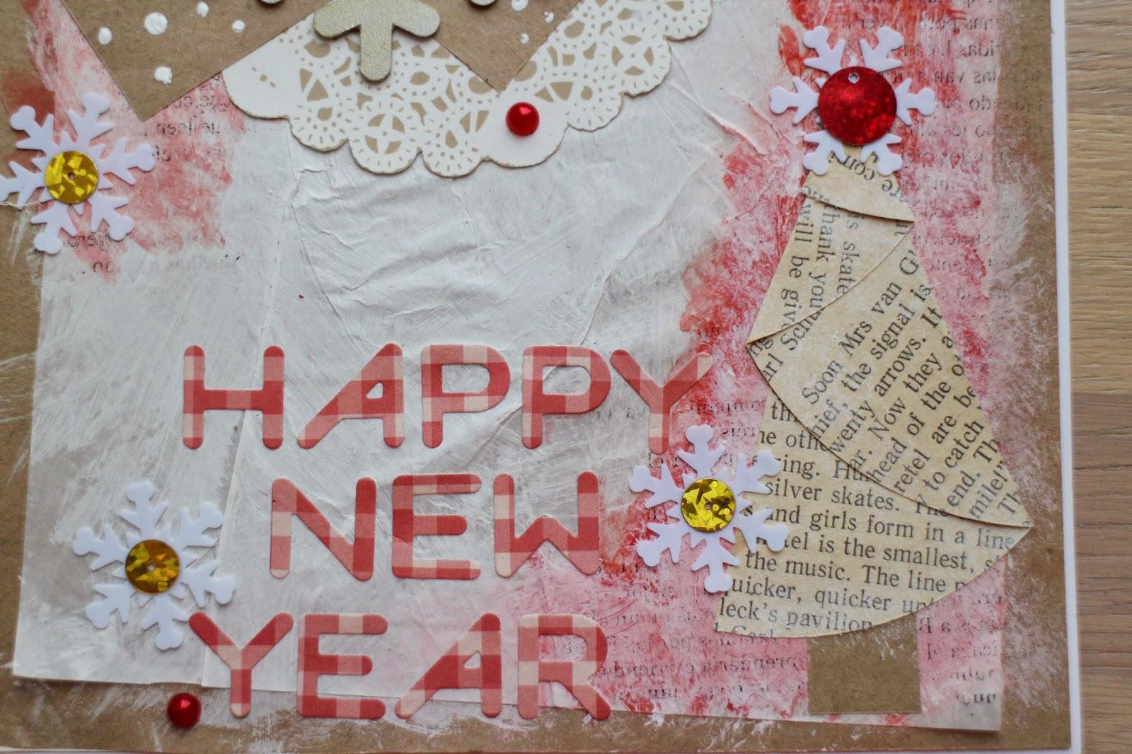happy new year scrapbooking card christmas tree snow kraft скрапбукинг открытка новый год снег ёлка hamster-sensey