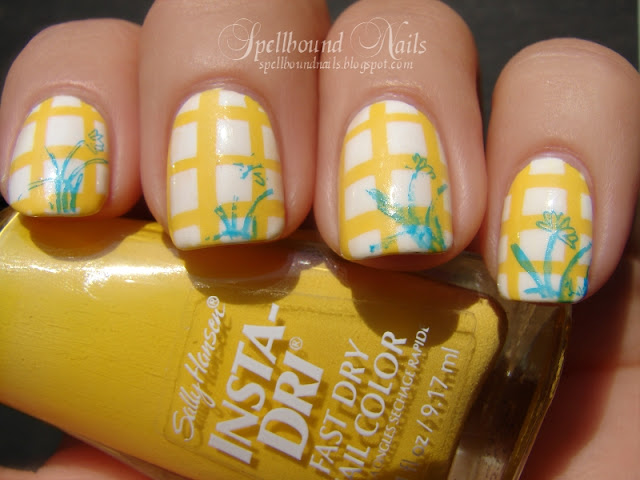 nails nailart nail art Spellbound mani manicure gingham checkers checkered yellow white blue Konad stamping stamp stamped stamper tape taping taped Coffee cup inspired inspiration obsession