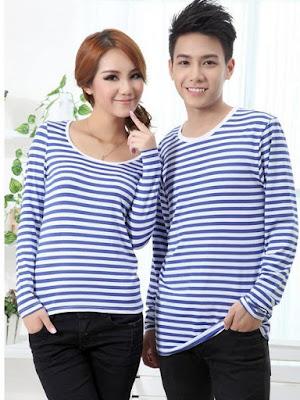 Baju Couple Korea Motif Garis Biru Online