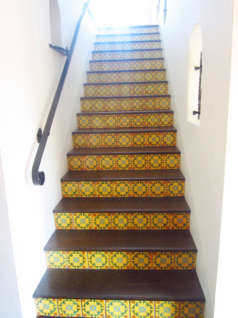staircase with Spanish style tiles