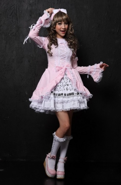 Sweet Pink/Black Ribbon Lace Lolita Dress
