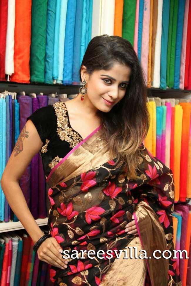 Model in black saree