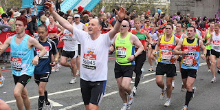 happy london marathon runners