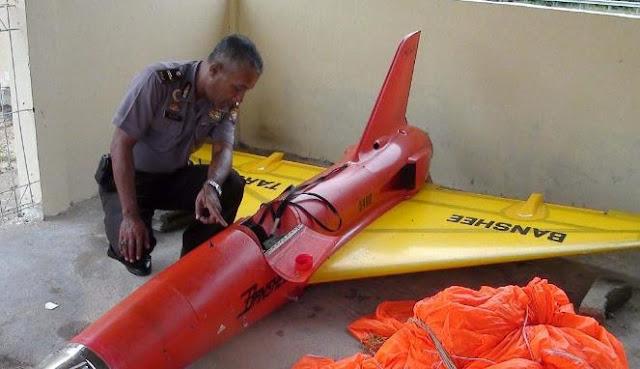 Pesawat tanpa awak yang jatuh di perairan Pulau Pucung