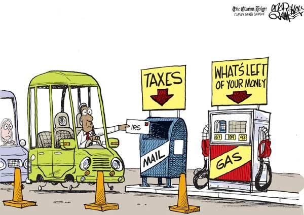 TIRED CARTOON CAR FILLING GAS TANK