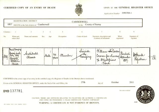 Archibald Hume Death Certificate 1857