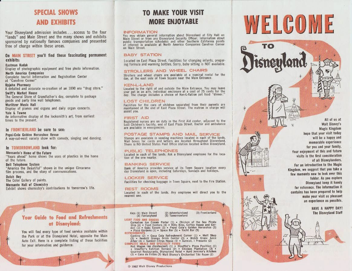 Insights And Sounds Disneyland Map Autographed By Walt Disney - Disneyland usa location map