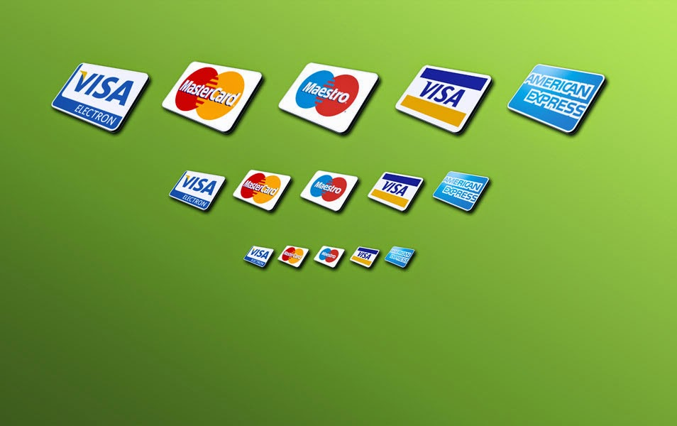 Free 5 Credit Card Icons PSD