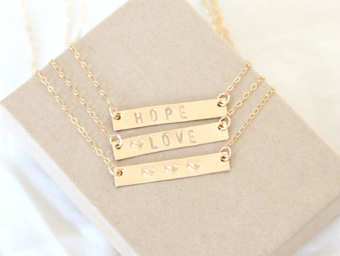 gold bar initial name necklace