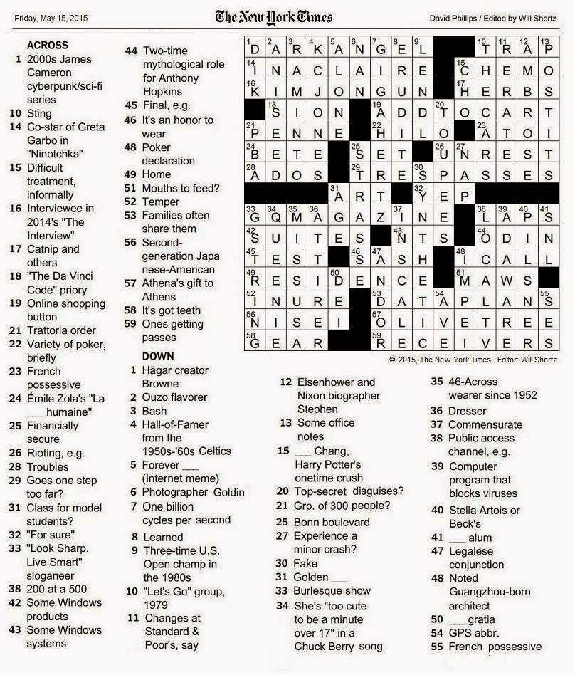 The New York Times Crossword In Gothic The Friday Crossword