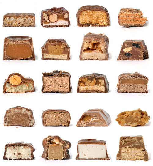 Variety of homemade candy bars