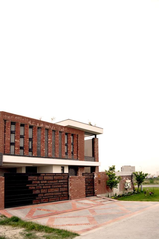 Front Elevation Tiles Of House : Modern house with red bricks tiles gutka elevation d